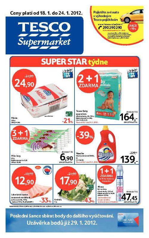 Leták Tesco supermarket (od 18. leden 2012 do 24. leden 2012)