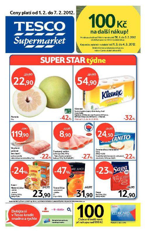 Leták Tesco supermarket (od 1. únor 2012 do 7. únor 2012)