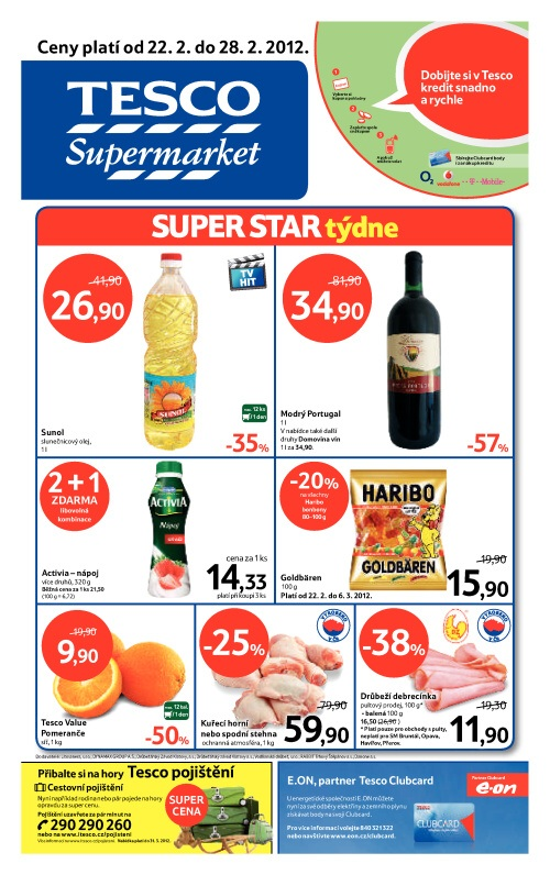 Leták Tesco supermarket (od 22. únor 2012 do 28. únor 20122012)