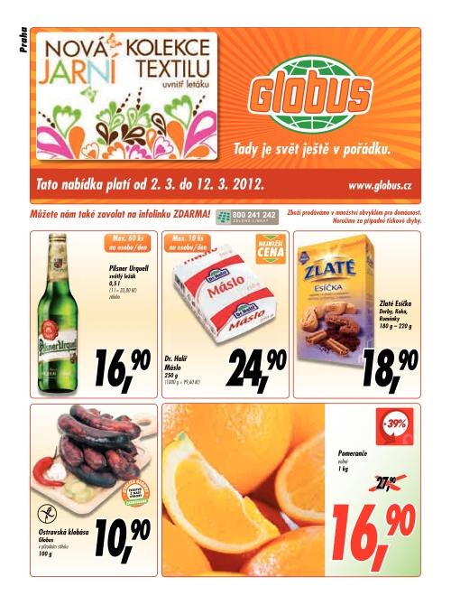Leták Globus  (od 2. březen 2012 do 12. březen 2012)