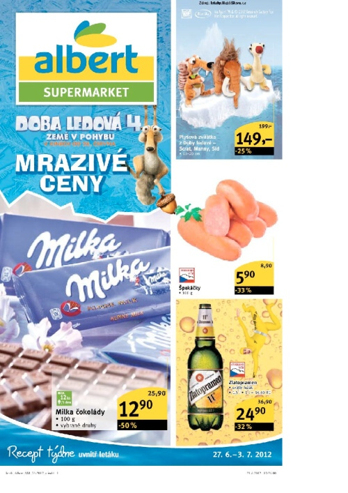 Leták Albert supermarkety (od 27. červen 2012 do 3. červenec 2012)
