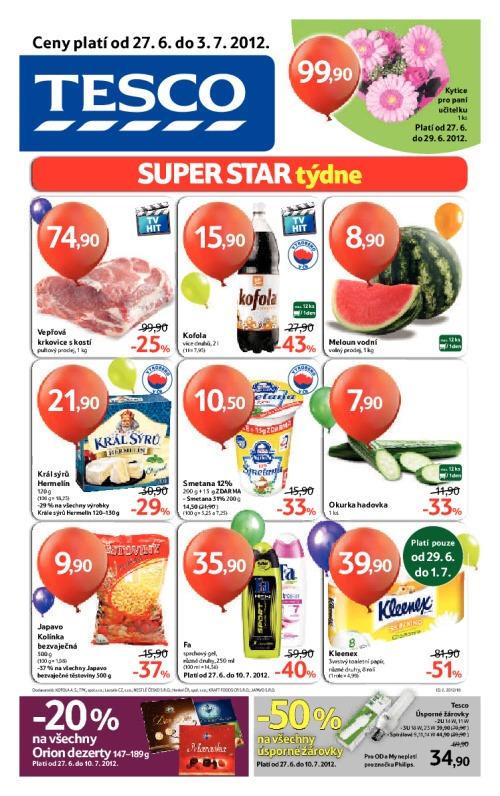 Leták Tesco hypermarkety (od 27. červen 2012 do 3. červenec 2012)