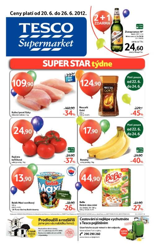 Leták Tesco supermarkety (od 20. červen 2012 do 26. červen 2012)