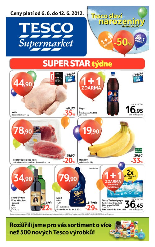 Leták Tesco supermarkety (od 6. červen 2012 do 12. červen 2012)