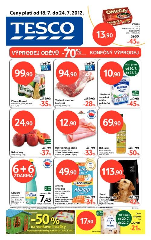Leták Tesco hypermarkety (od 18. červenec 2012 do 24. červenec 2012)