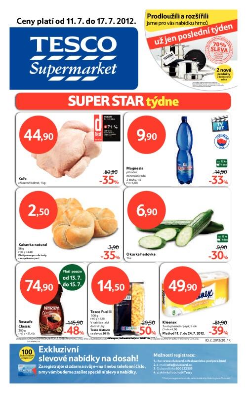 Leták Tesco supermarkety (od 11. červenec 2012 do 17. červenec 2012)
