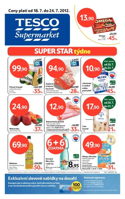 Leták Tesco supermarkety (od 18. červenec 2012 do 24. červenec 2012)