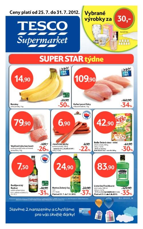 Leták Tesco supermarkety (od 25. červenec 2012 do 31. červenec 2012)