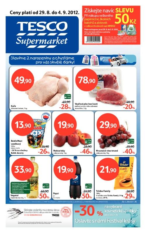 Leták Tesco supermarkety (od 29.srpen 2012 do 4.září 2012)