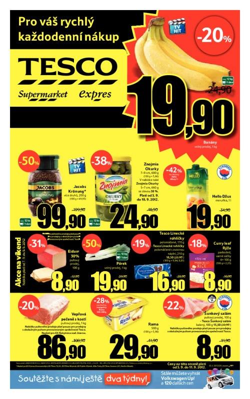 Leták Tesco prodejny expres (od 5. září 2012 do 11. září 2012)