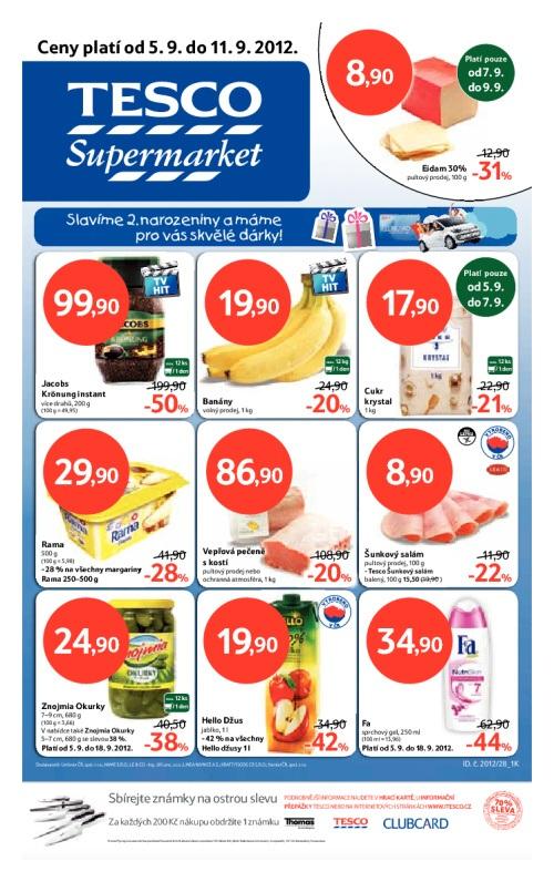 Leták Tesco supermarkety (od 5. září 2012 do 11. září 2012)