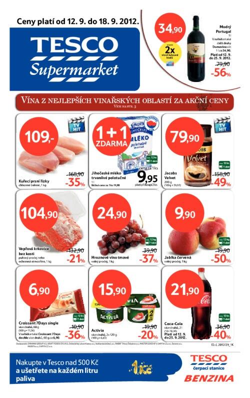 Leták Tesco supermarkety (od 12. září 2012 do 18. září 2012)