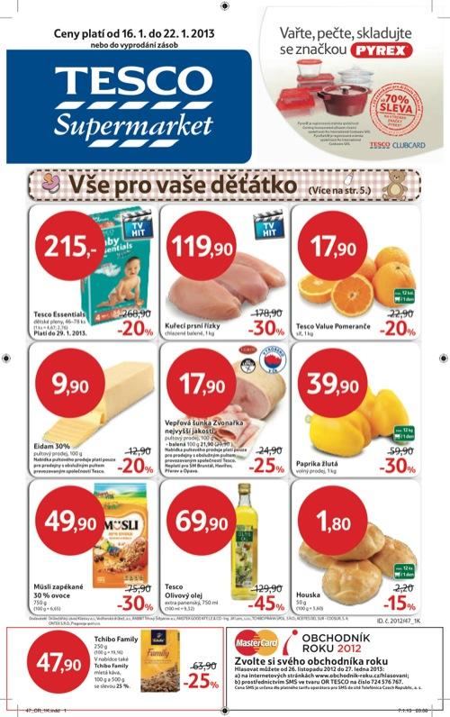 Leták Tesco supermarket (od 16. 1. do 22. 01. 2013)