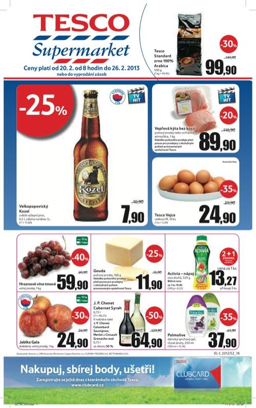 Leták Tesco supermarket (od 20. 2. do 26. 02. 2013)