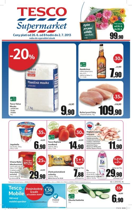 Leták Tesco supermarket (od 26. 6. do 2. 07. 2013)