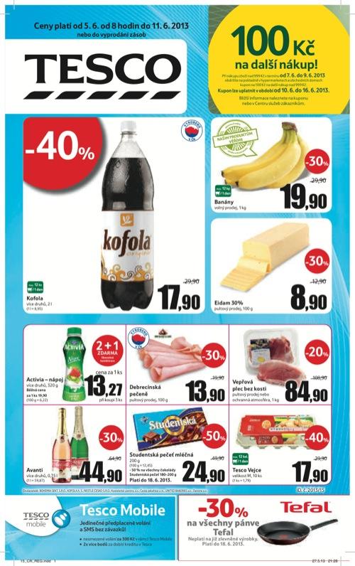 Leták Tesco hypermarket velký (od 5. 6. do 11. 06. 2013)
