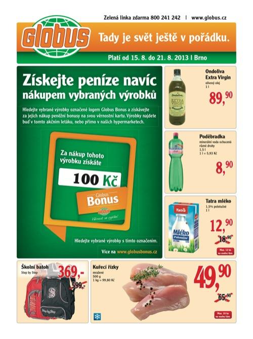 Leták Globus novinky (od 15. 8. do 21. 08. 2013)