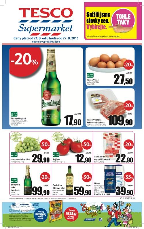 Leták Tesco supermarket (od 21. 8. do 27. 08. 2013)