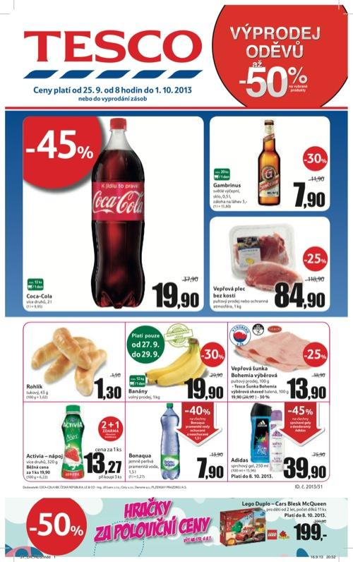 Leták Tesco hypermarket velký (od 25. 9. do 1. 10. 2013)