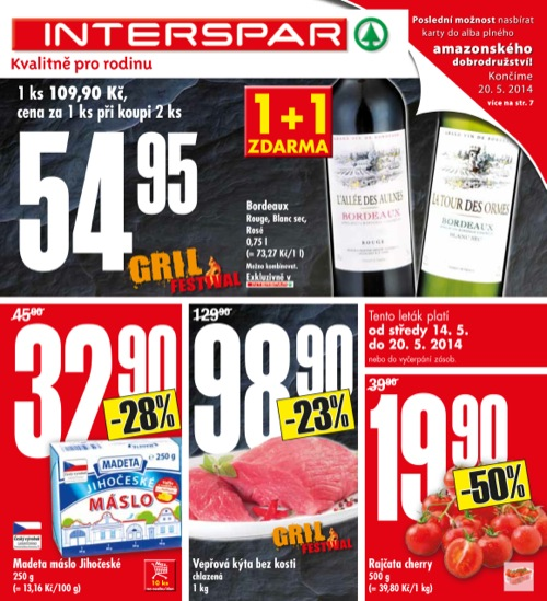 Leták INTERSPAR  (od 14. 5. do 20. 05. 2014)