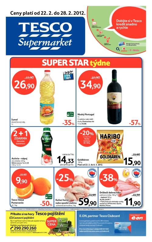 Leták Tesco supermarket (od 22. únor 2012 do 28. únor 20122012)