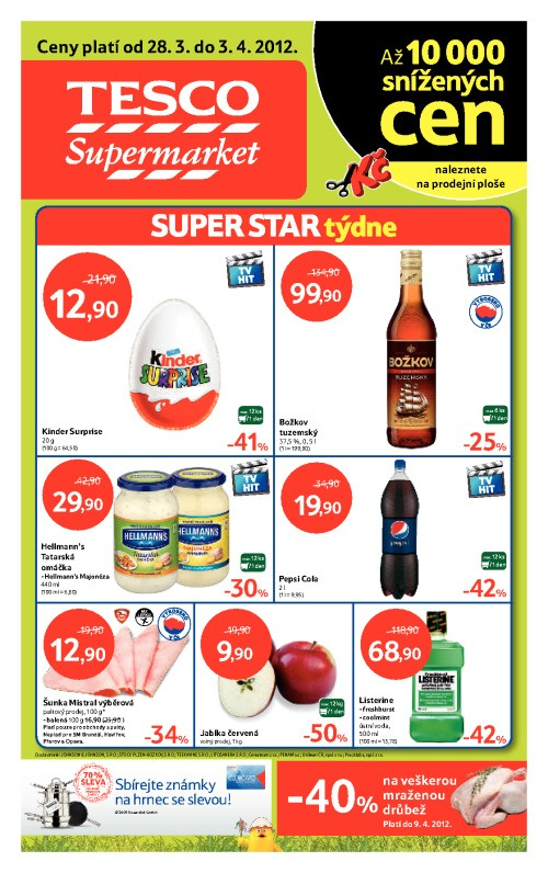 Leták Tesco supermarkety (od 28. březen 2012 do 3. duben2012)