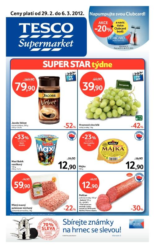 Leták Tesco supermarkety (od 29. únor 2012 do 6. březen 2012)