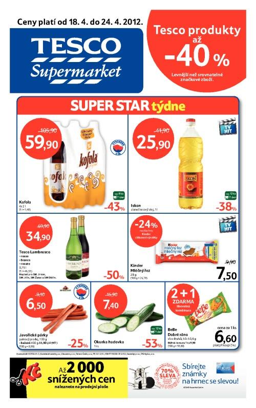 Leták Tesco supermarkety (od 18. duben 2012 do 24. duben 2012)