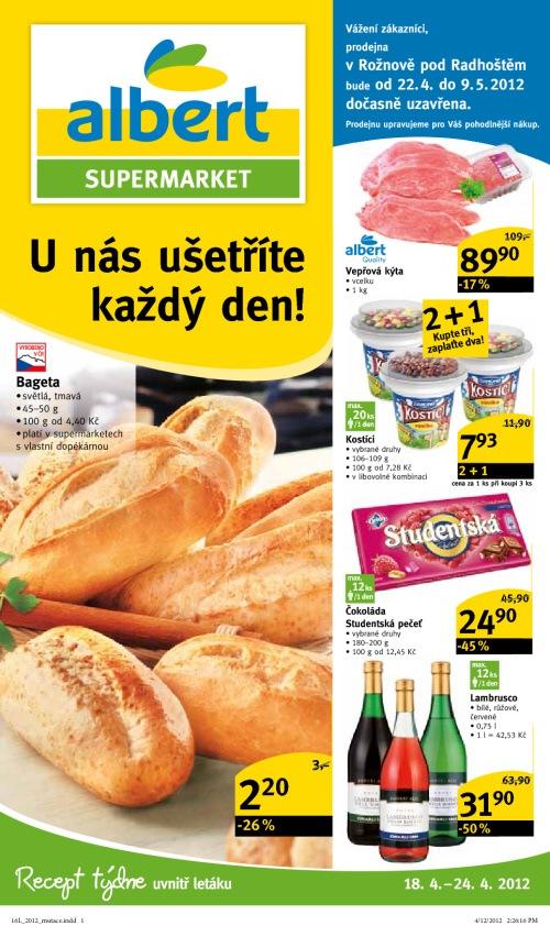Leták Albert supermarkety (od 18. duben 2012 do 24. duben 2012)