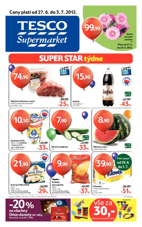 Leták Tesco supermarkety (od 27. červen 2012 do 3. červenec 2012)