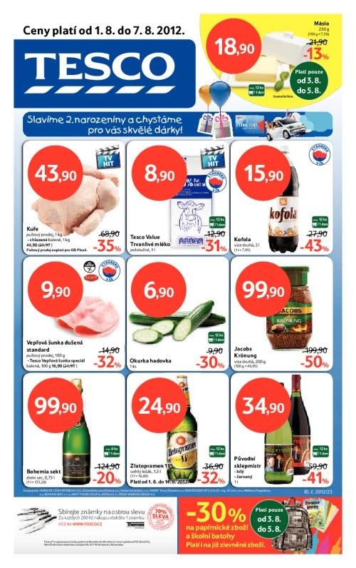 Leták Tesco hypermarkety (od 1. srpen 2012 do 7. srpen 2012)