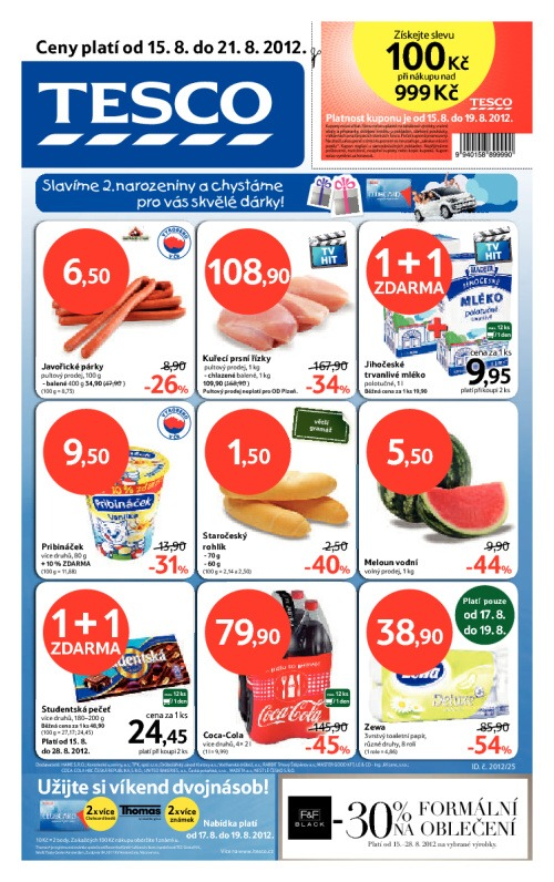 Leták Tesco hypermarkety (od 15. srpen 2012 do 21. srpen 2012)