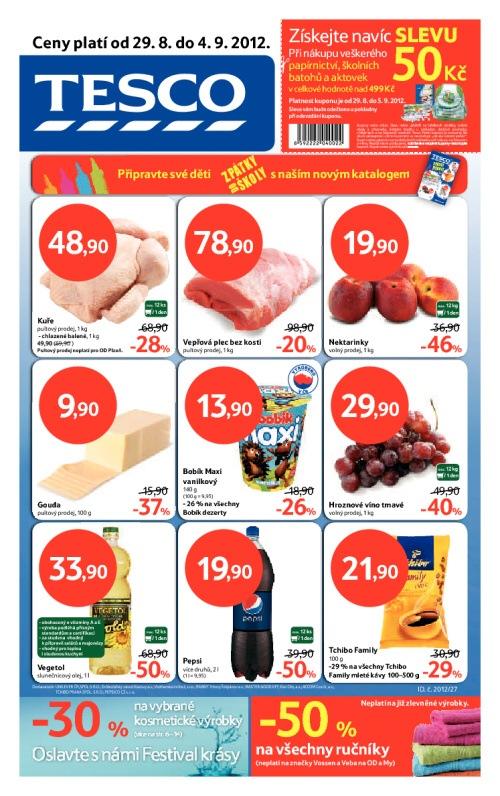 Leták Tesco hypermarkety (od 29.srpen 2012 do 4.září 2012)