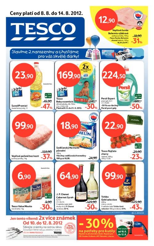 Leták Tesco hypermarkety (od 8. srpen 2012 do 14. srpen 2012)