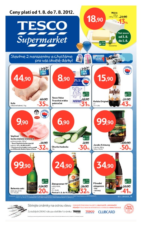 Leták Tesco supermarkety (od 1. srpen 2012 do 7. srpen 2012)