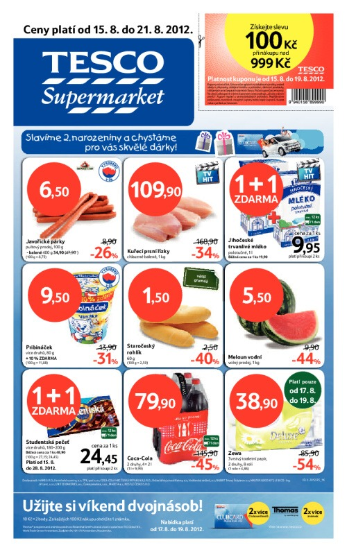 Leták Tesco supermarkety (od 15. srpen 2012 do 21. srpen 2012)
