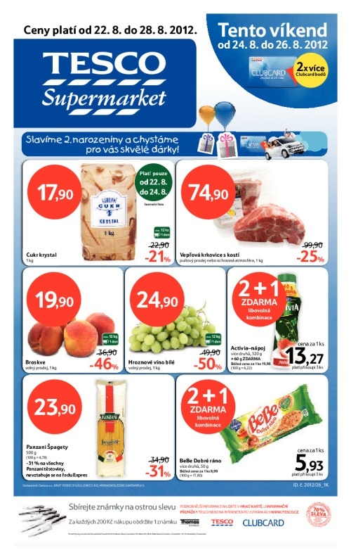 Leták Tesco supermarkety (od 22.srpen 2012 do 28.srpen 2012)