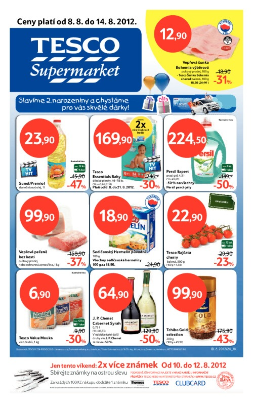 Leták Tesco supermarkety (od 8. srpen 2012 do 14. srpen 2012)