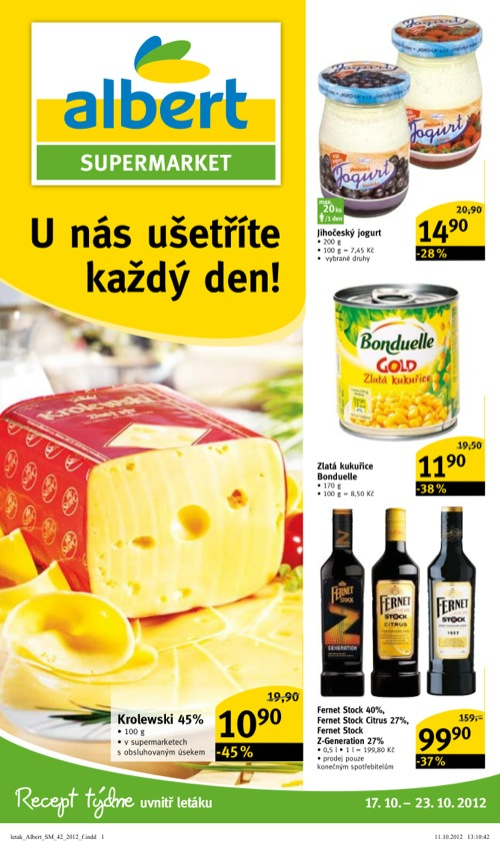 Leták Albert supermarket (od 17. 10. do 23. 10. 2012)