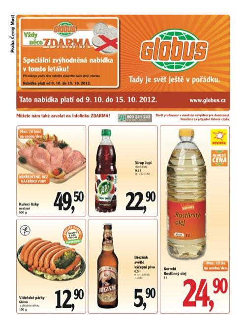 Leták Globus novinky (od 9. 10. do 15. 10. 2012)