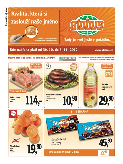 Leták Globus novinky (od 30. 10. do 5. 11. 2012)