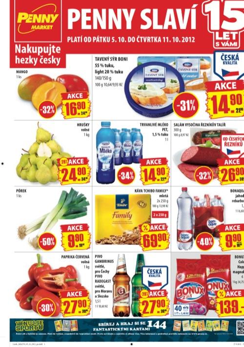 Leták Penny Market  (od 5. 10. do 11. 10. 2012)