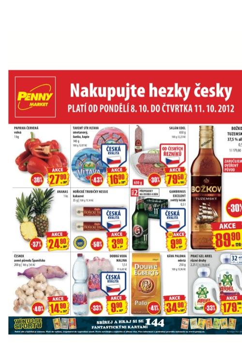 Leták Penny Market  (od 8. 10. do 11. 10. 2012)