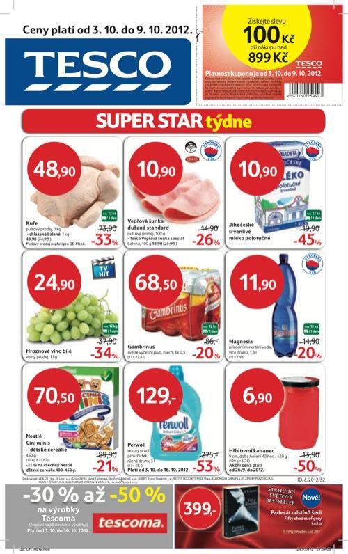 Leták Tesco hypermarket (od 3. 10. do 9. 10. 2012)