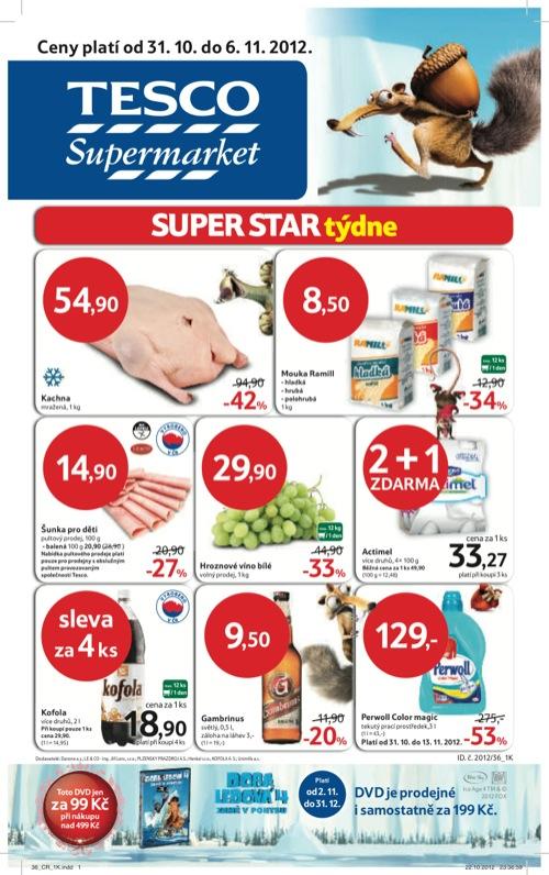 Leták Tesco supermarket (od 31. 10. do 6. 11. 2012)