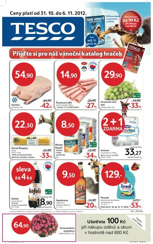 Leták Tesco hypermarket velký (od 31. 10. do 6. 11. 2012)