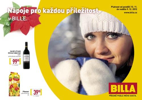 Leták Billa nápoje (od 12. 11. do 9. 12. 2012)