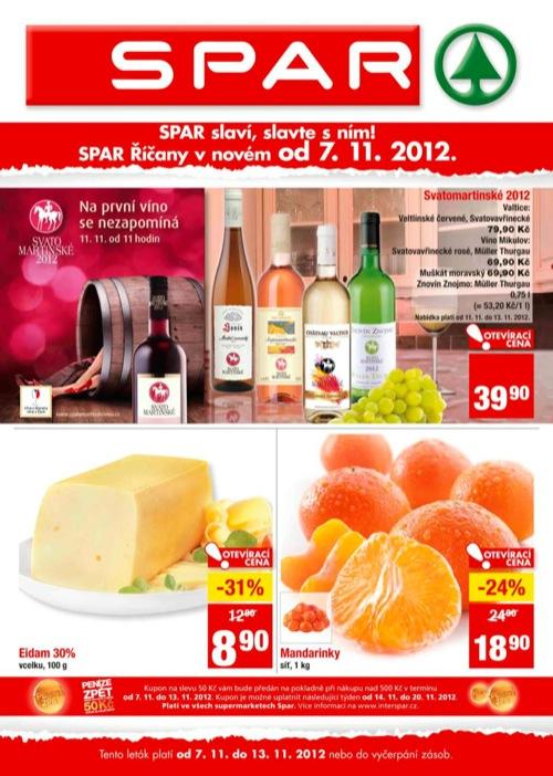 Leták INTERSPAR spar (od 7. 11. do 13. 11. 2012)