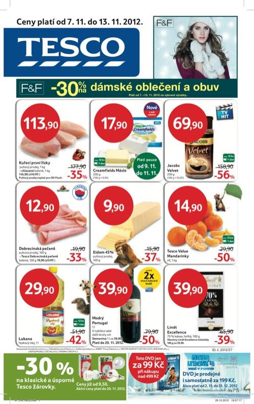 Leták Tesco hypermarket velký (od 7. 11. do 13. 11. 2012)