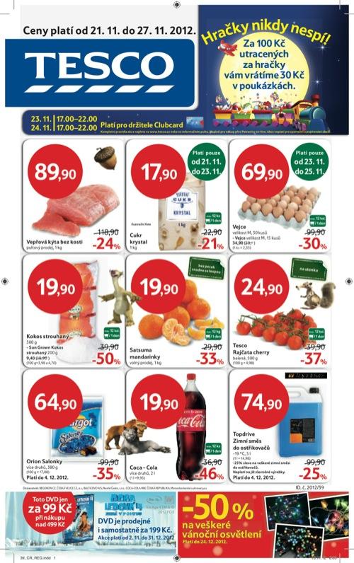 Leták Tesco hypermarket velký (od 21. 11. do 27. 11. 2012)
